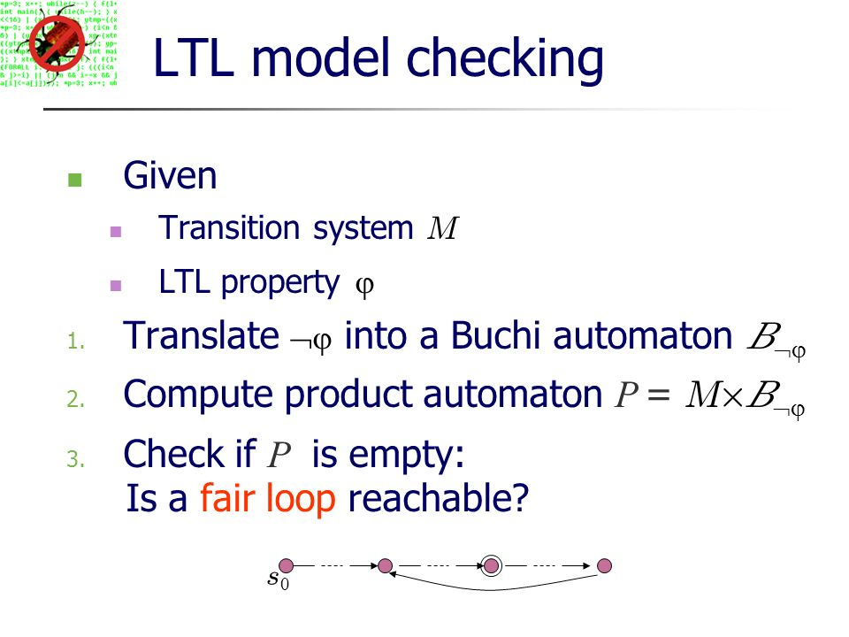 LTL model checking Given Transition system M LTL property 1.