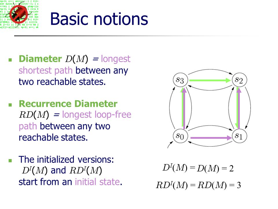 Basic notions Diameter D ( M ) = longest shortest path between any two reachable states.