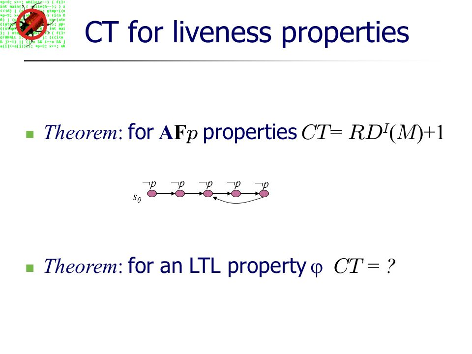 CT for liveness properties Theorem: for AF p properties CT = RD I ( M )+1 s0s0 p p p p p Theorem: for an LTL property CT =