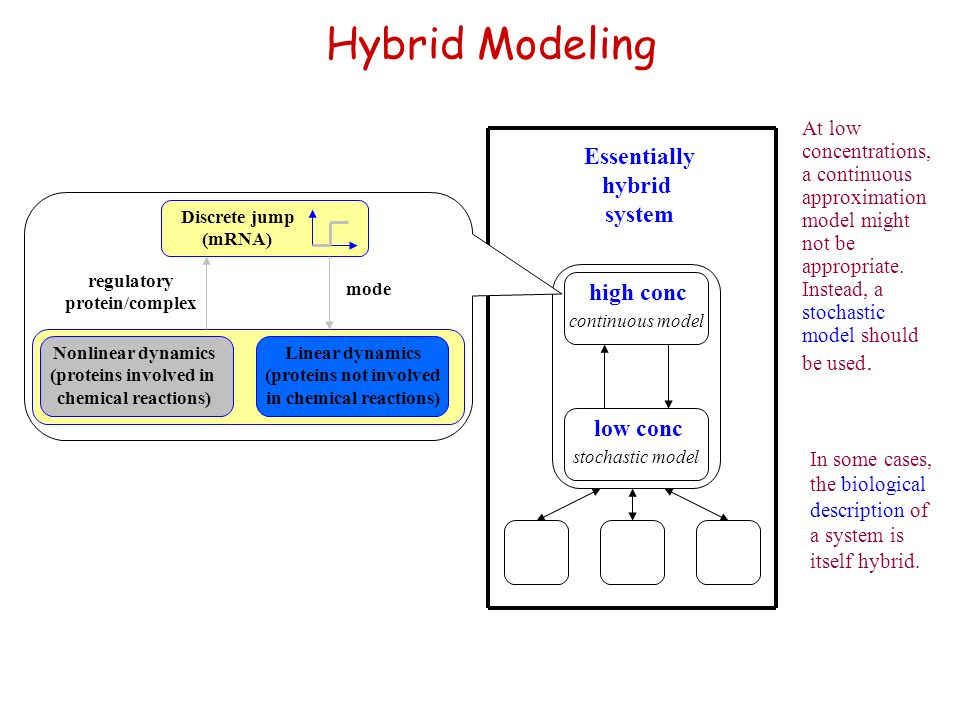 Hybrid Modeling At low concentrations, a continuous approximation model might not be appropriate. Instead, a stochastic model should be used. stochast