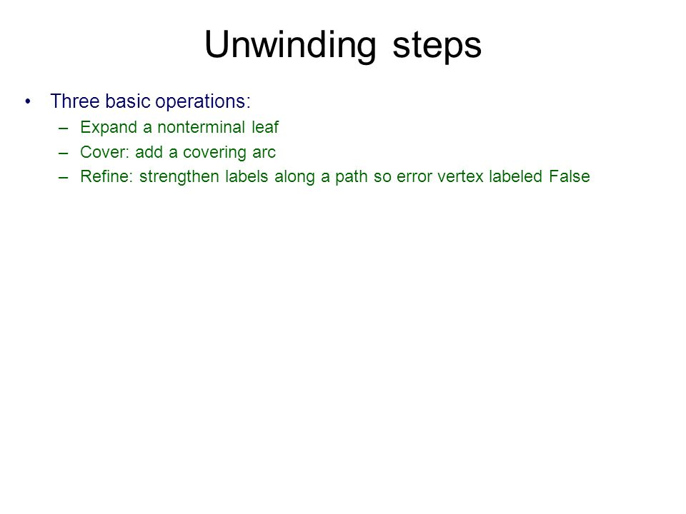 Unwinding steps Three basic operations: –Expand a nonterminal leaf –Cover: add a covering arc –Refine: strengthen labels along a path so error vertex labeled False