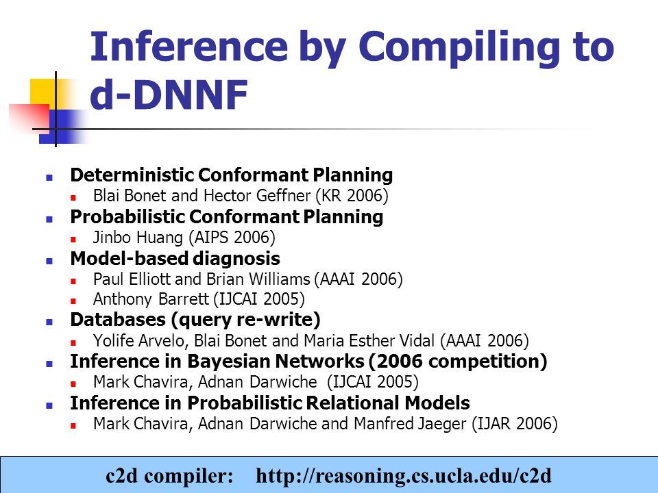 A. Darwiche Inference by Compiling to d-DNNF Deterministic Conformant Planning Blai Bonet and Hector Geffner (KR 2006) Probabilistic Conformant Planni