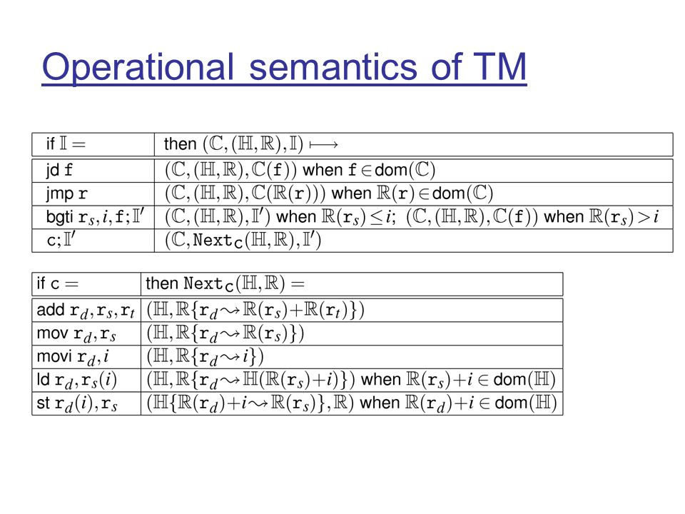 Operational semantics of TM