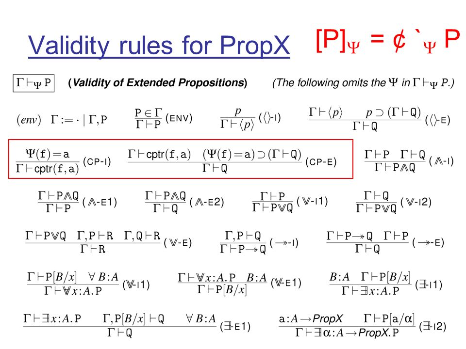 Validity rules for PropX [P] = ¢ ` P