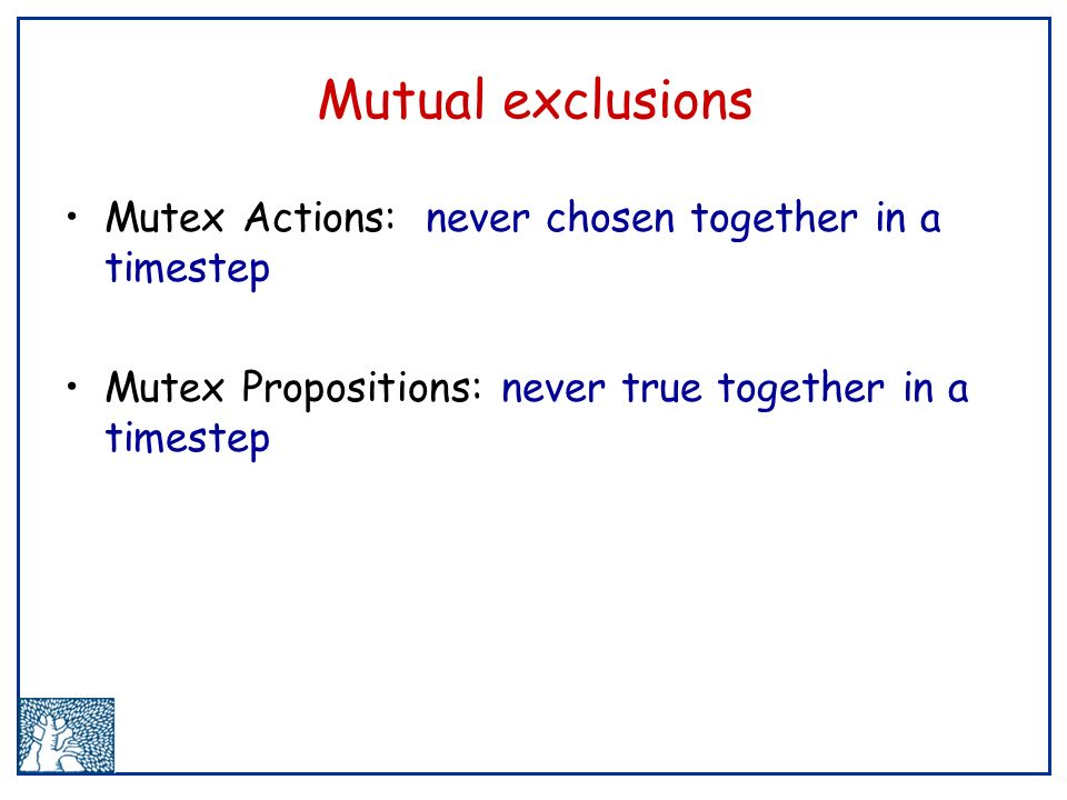Mutual exclusions Mutex Actions: never chosen together in a timestep Mutex Propositions: never true together in a timestep