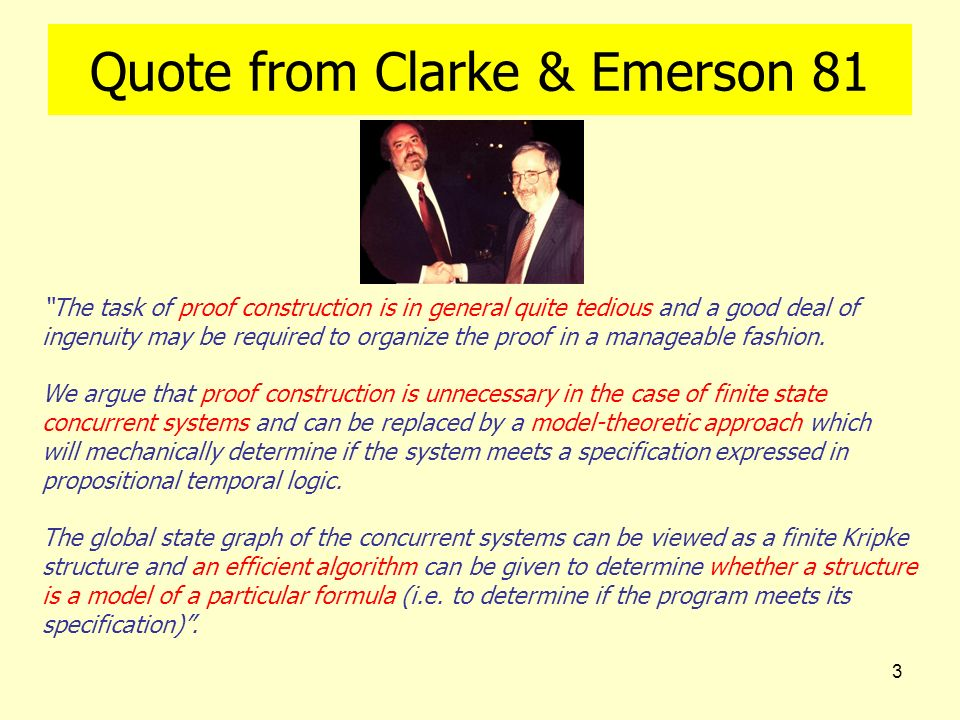 3 Quote from Clarke & Emerson 81 The task of proof construction is in general quite tedious and a good deal of ingenuity may be required to organize t