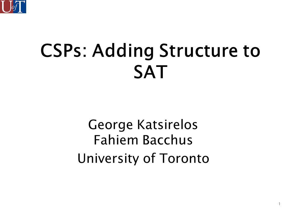 2 Introduction Finite domain Constraint Satisfaction Problems (CSPs).