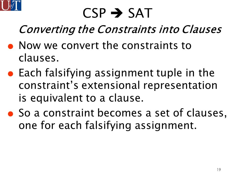19 CSP SAT Converting the Constraints into Clauses Now we convert the constraints to clauses.
