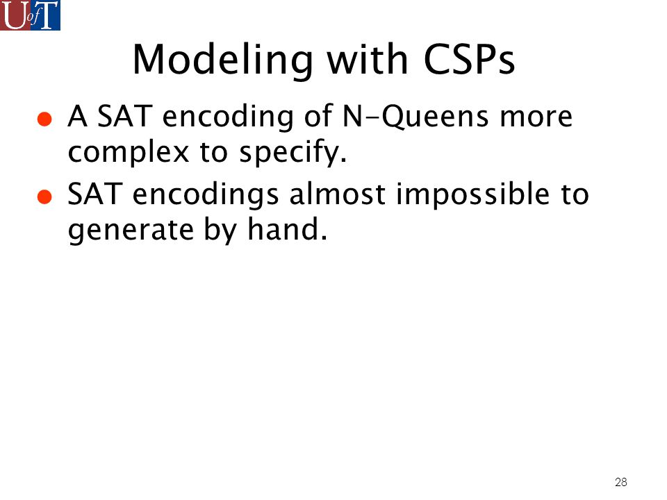 28 Modeling with CSPs A SAT encoding of N-Queens more complex to specify.