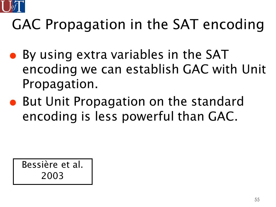 55 GAC Propagation in the SAT encoding By using extra variables in the SAT encoding we can establish GAC with Unit Propagation.