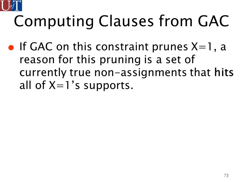 73 Computing Clauses from GAC If GAC on this constraint prunes X=1, a reason for this pruning is a set of currently true non-assignments that hits all of X=1s supports.