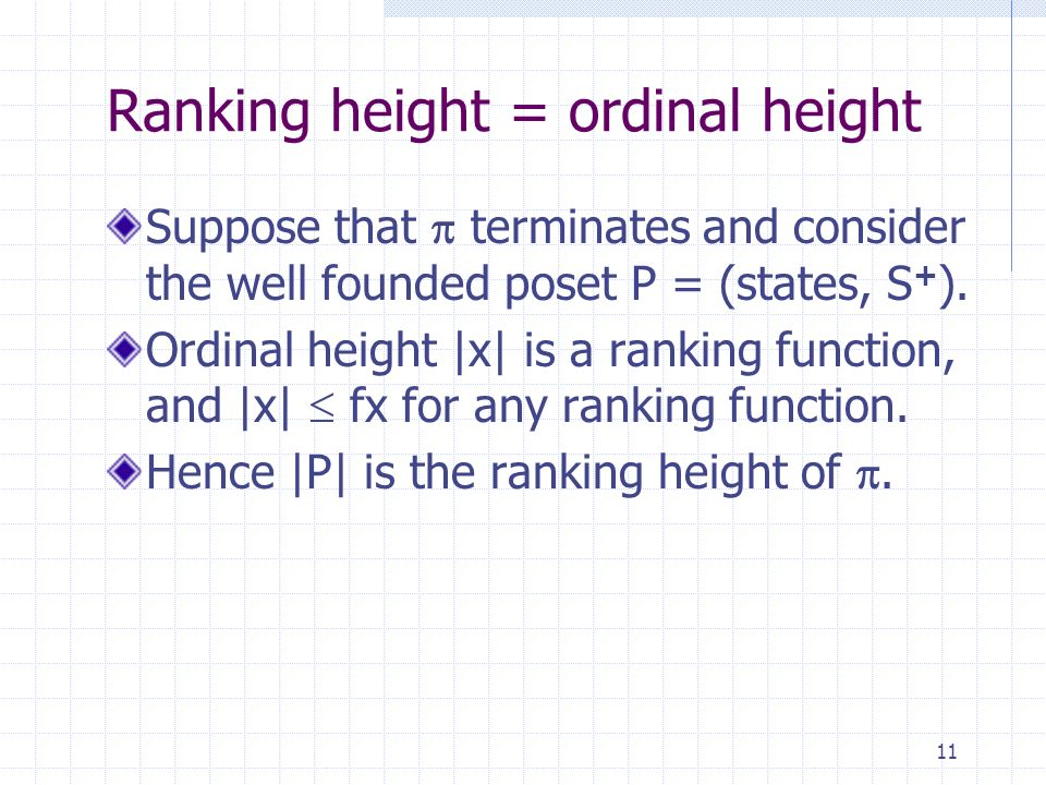 11 Ranking height = ordinal height Suppose that terminates and consider the well founded poset P = (states, S + ).