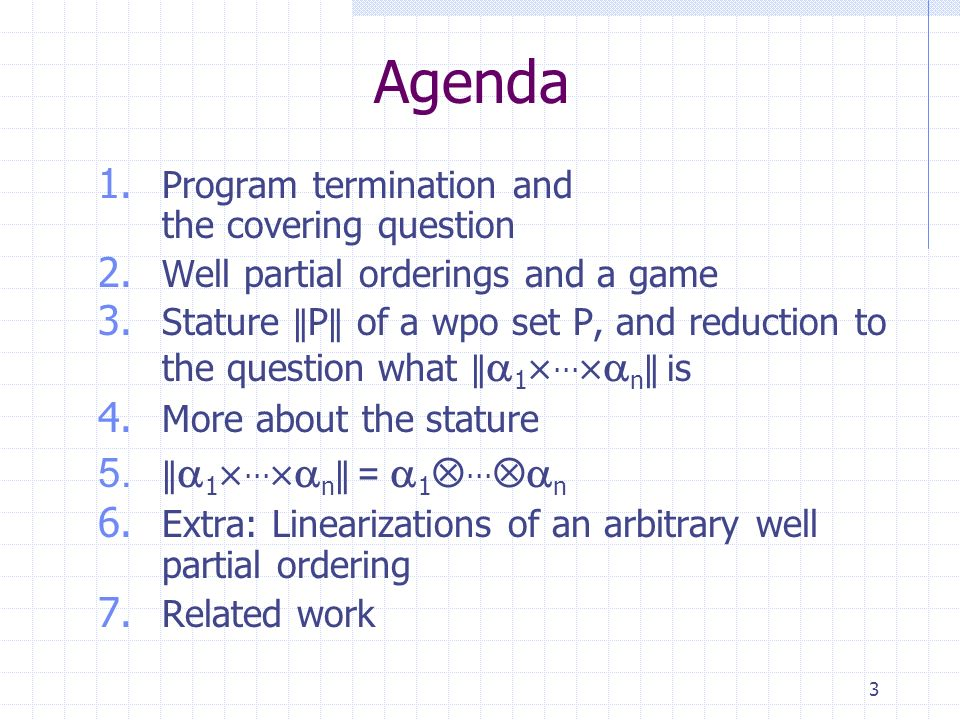 3 Agenda 1. Program termination and the covering question 2.