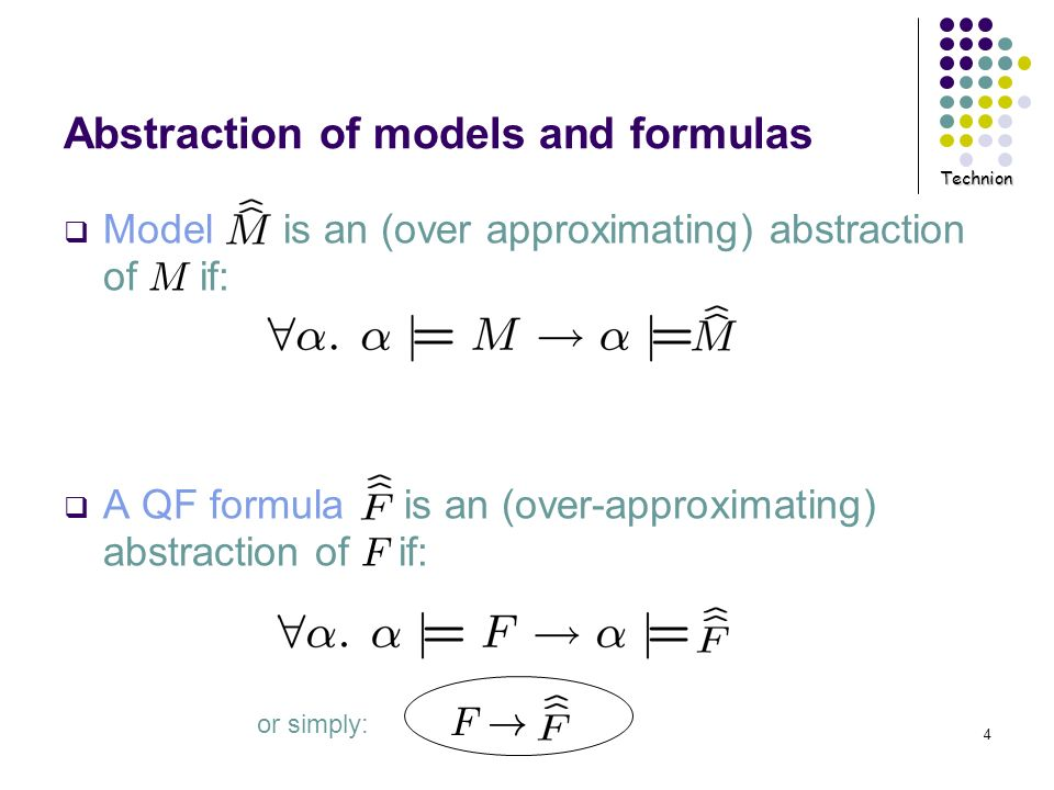 Technion 4 Abstraction of models and formulas Model is an (over approximating) abstraction of M if: A QF formula is an (over-approximating) abstractio