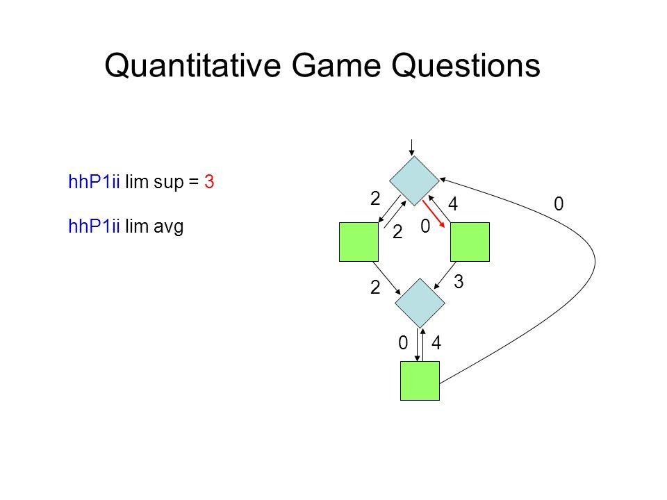 Quantitative Game Questions hhP1ii lim sup = 3 hhP1ii lim avg 4 2 2 0 2 0 0 4 3