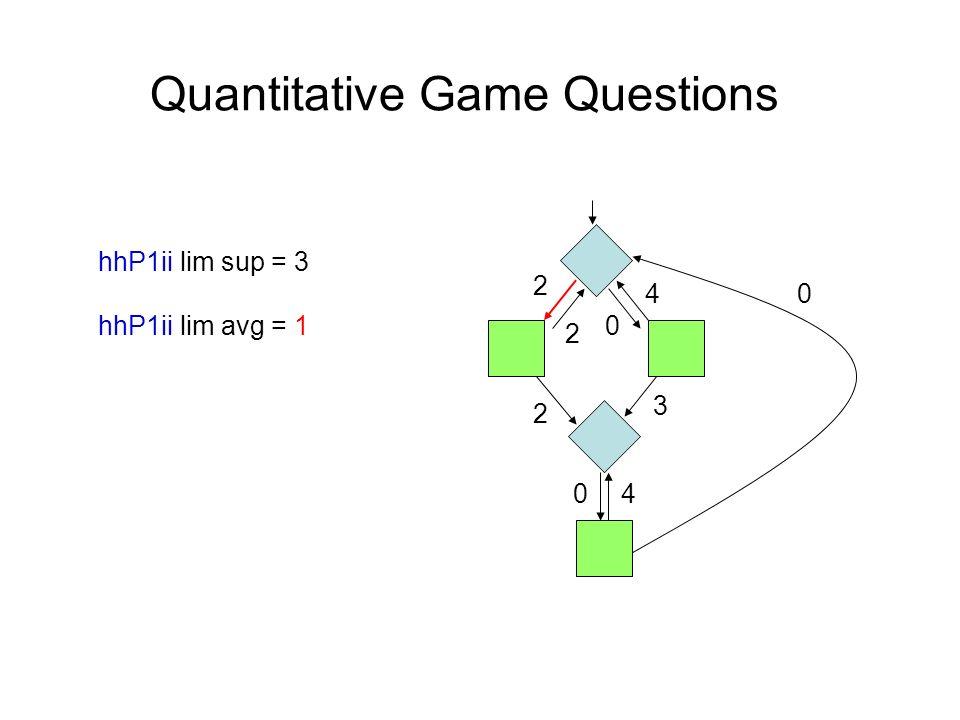 Quantitative Game Questions hhP1ii lim sup = 3 hhP1ii lim avg = 1 4 2 2 0 2 0 0 4 3