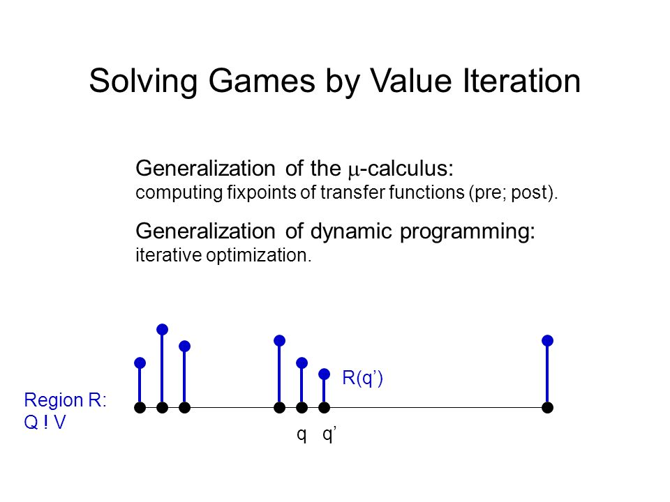 Solving Games by Value Iteration Generalization of the -calculus: computing fixpoints of transfer functions (pre; post). Generalization of dynamic pro