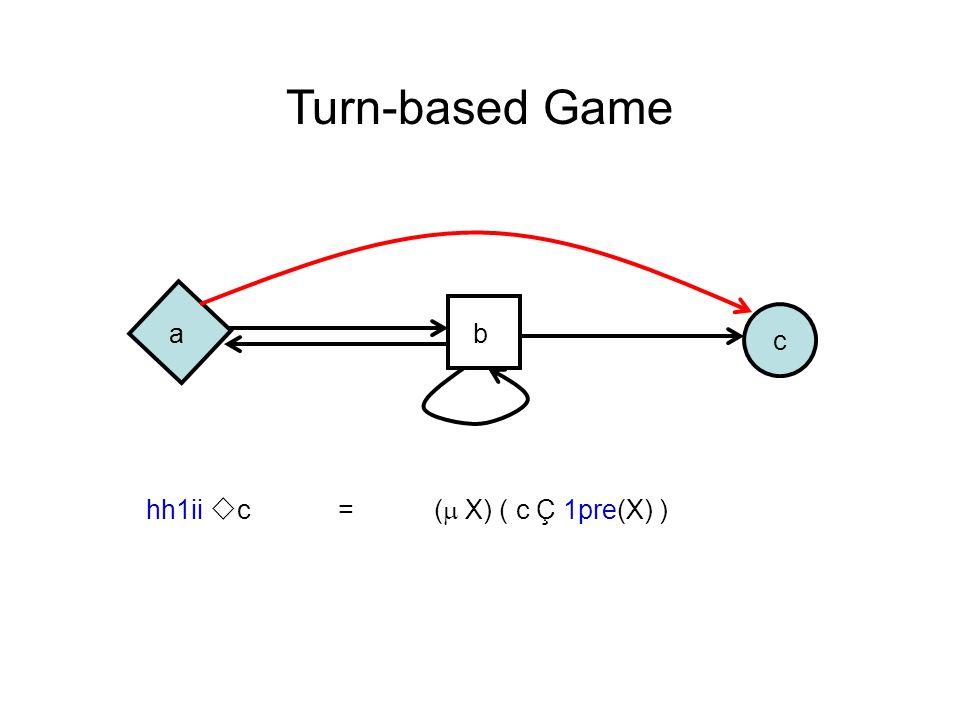 c Turn-based Game ab hh1ii c =( X) ( c Ç 1pre(X) )