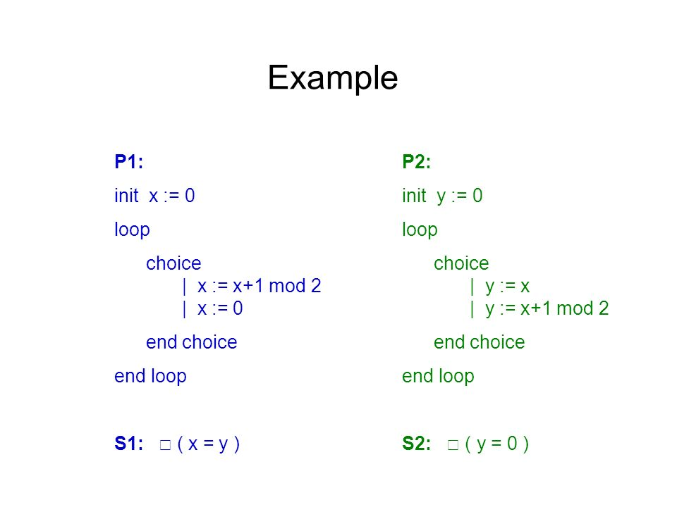 Example P1: init x := 0 loop choice | x := x+1 mod 2 | x := 0 end choice end loop S1: ( x = y ) P2: init y := 0 loop choice | y := x | y := x+1 mod 2