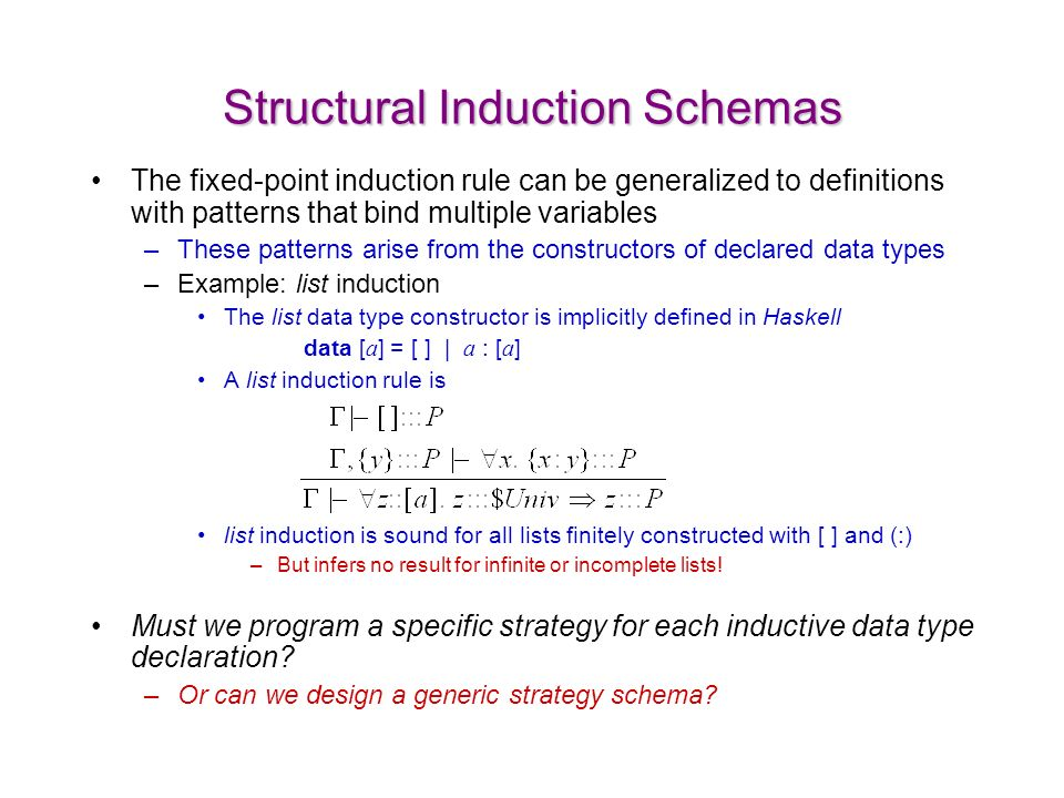 Structural Induction Schemas The fixed-point induction rule can be generalized to definitions with patterns that bind multiple variables –These patterns arise from the constructors of declared data types –Example: list induction The list data type constructor is implicitly defined in Haskell data [ a ] = [ ] | a : [ a ] A list induction rule is list induction is sound for all lists finitely constructed with [ ] and (:) –But infers no result for infinite or incomplete lists.
