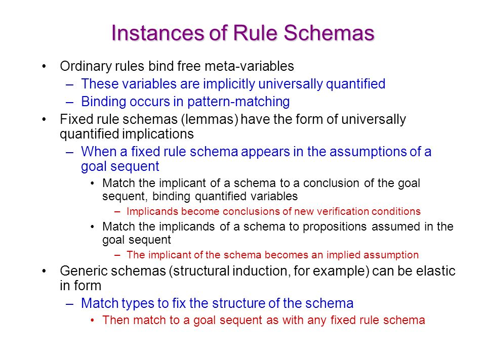 Instances of Rule Schemas Ordinary rules bind free meta-variables –These variables are implicitly universally quantified –Binding occurs in pattern-matching Fixed rule schemas (lemmas) have the form of universally quantified implications –When a fixed rule schema appears in the assumptions of a goal sequent Match the implicant of a schema to a conclusion of the goal sequent, binding quantified variables –Implicands become conclusions of new verification conditions Match the implicands of a schema to propositions assumed in the goal sequent –The implicant of the schema becomes an implied assumption Generic schemas (structural induction, for example) can be elastic in form –Match types to fix the structure of the schema Then match to a goal sequent as with any fixed rule schema