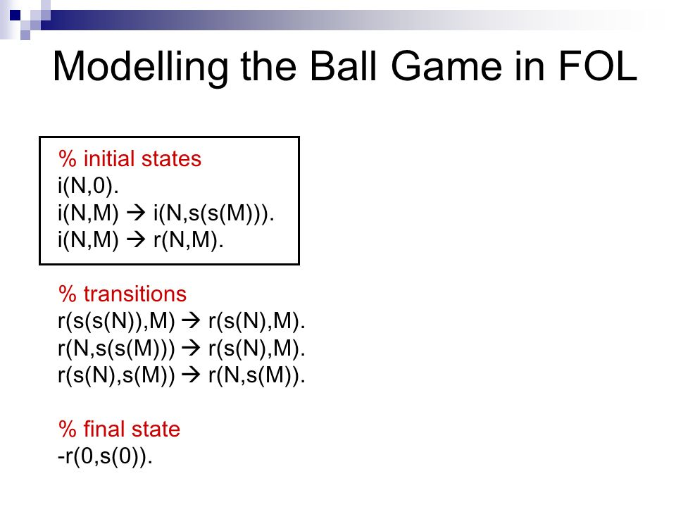 Modelling the Ball Game in FOL % initial states i(N,0).