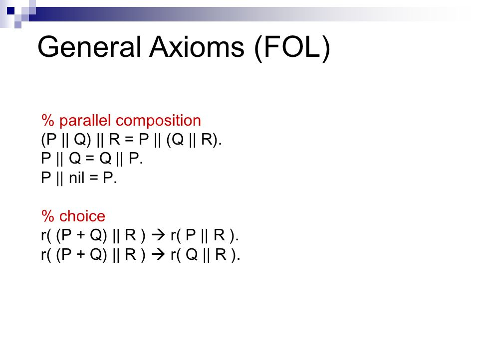 General Axioms (FOL) % parallel composition (P || Q) || R = P || (Q || R).