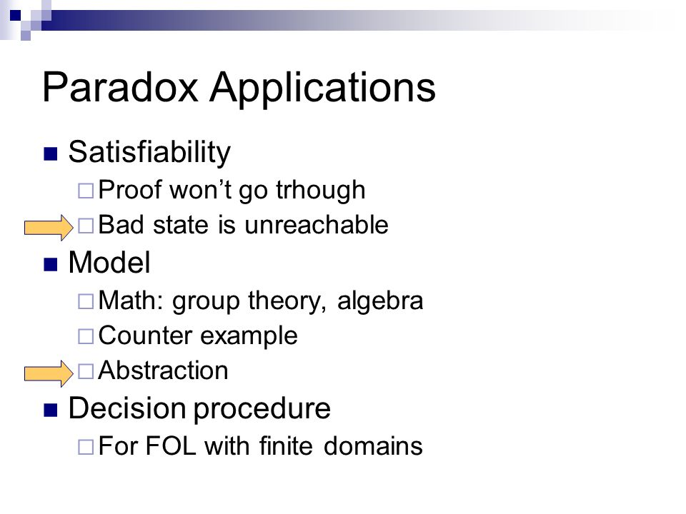 Paradox Applications Satisfiability Proof wont go trhough Bad state is unreachable Model Math: group theory, algebra Counter example Abstraction Decision procedure For FOL with finite domains