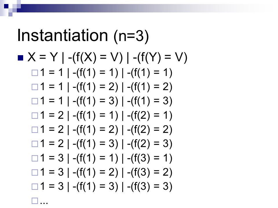 Instantiation (n=3) X = Y | -(f(X) = V) | -(f(Y) = V) 1 = 1 | -(f(1) = 1) | -(f(1) = 1) 1 = 1 | -(f(1) = 2) | -(f(1) = 2) 1 = 1 | -(f(1) = 3) | -(f(1) = 3) 1 = 2 | -(f(1) = 1) | -(f(2) = 1) 1 = 2 | -(f(1) = 2) | -(f(2) = 2) 1 = 2 | -(f(1) = 3) | -(f(2) = 3) 1 = 3 | -(f(1) = 1) | -(f(3) = 1) 1 = 3 | -(f(1) = 2) | -(f(3) = 2) 1 = 3 | -(f(1) = 3) | -(f(3) = 3)...