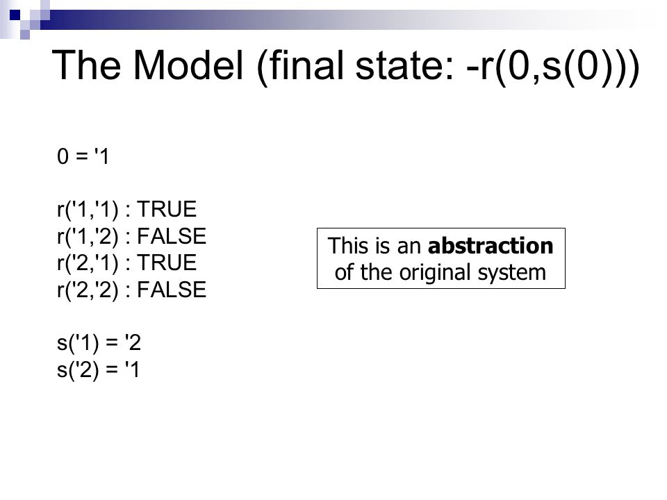 The Model (final state: -r(0,s(0))) 0 = 1 r( 1, 1) : TRUE r( 1, 2) : FALSE r( 2, 1) : TRUE r( 2, 2) : FALSE s( 1) = 2 s( 2) = 1 This is an abstraction of the original system
