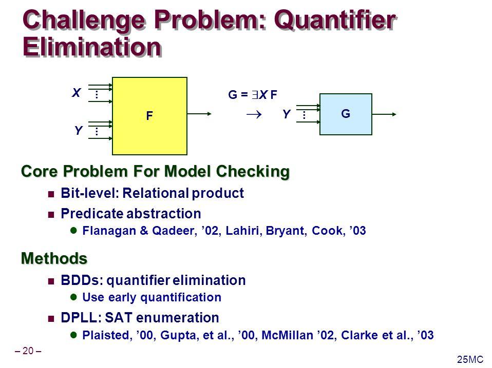 – 20 – 25MC Challenge Problem: Quantifier Elimination Core Problem For Model Checking Bit-level: Relational product Predicate abstraction Flanagan & Qadeer, 02, Lahiri, Bryant, Cook, 03Methods BDDs: quantifier elimination Use early quantification DPLL: SAT enumeration Plaisted, 00, Gupta, et al., 00, McMillan 02, Clarke et al., 03 F............