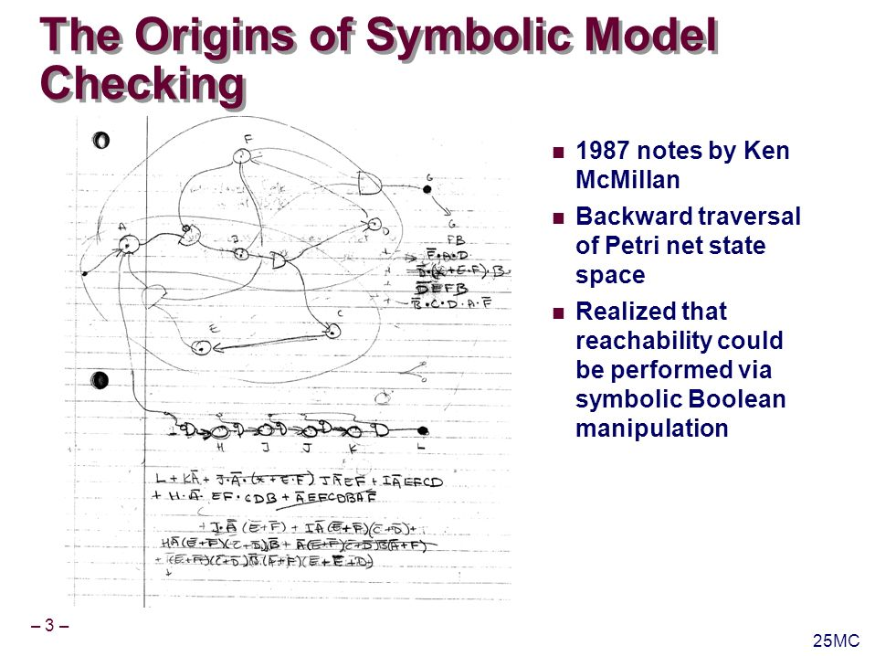 – 3 – 25MC The Origins of Symbolic Model Checking 1987 notes by Ken McMillan Backward traversal of Petri net state space Realized that reachability could be performed via symbolic Boolean manipulation