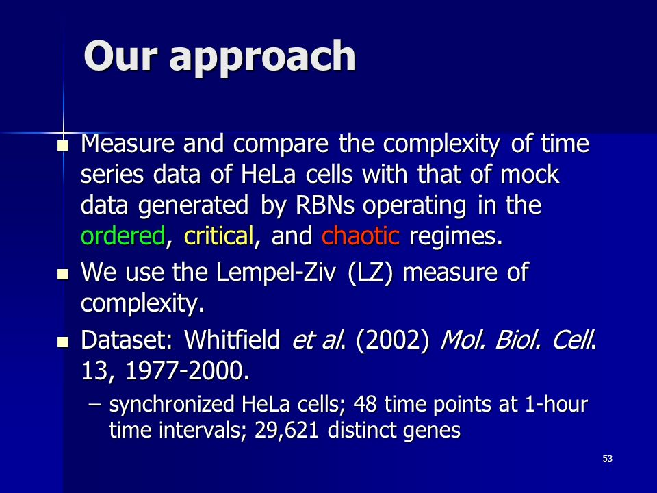 53 Our approach Measure and compare the complexity of time series data of HeLa cells with that of mock data generated by RBNs operating in the ordered, critical, and chaotic regimes.