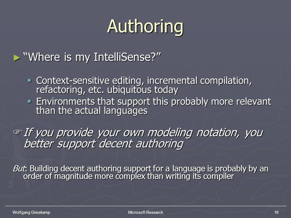 Wolfgang GrieskampMicrosoft Research10 Authoring Where is my IntelliSense? Where is my IntelliSense? Context-sensitive editing, incremental compilatio