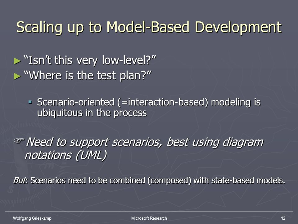 Wolfgang GrieskampMicrosoft Research12 Scaling up to Model-Based Development Isnt this very low-level? Isnt this very low-level? Where is the test pla