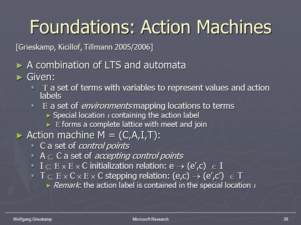 Wolfgang GrieskampMicrosoft Research28 Foundations: Action Machines [Grieskamp, Kicillof, Tillmann 2005/2006] A combination of LTS and automata A comb