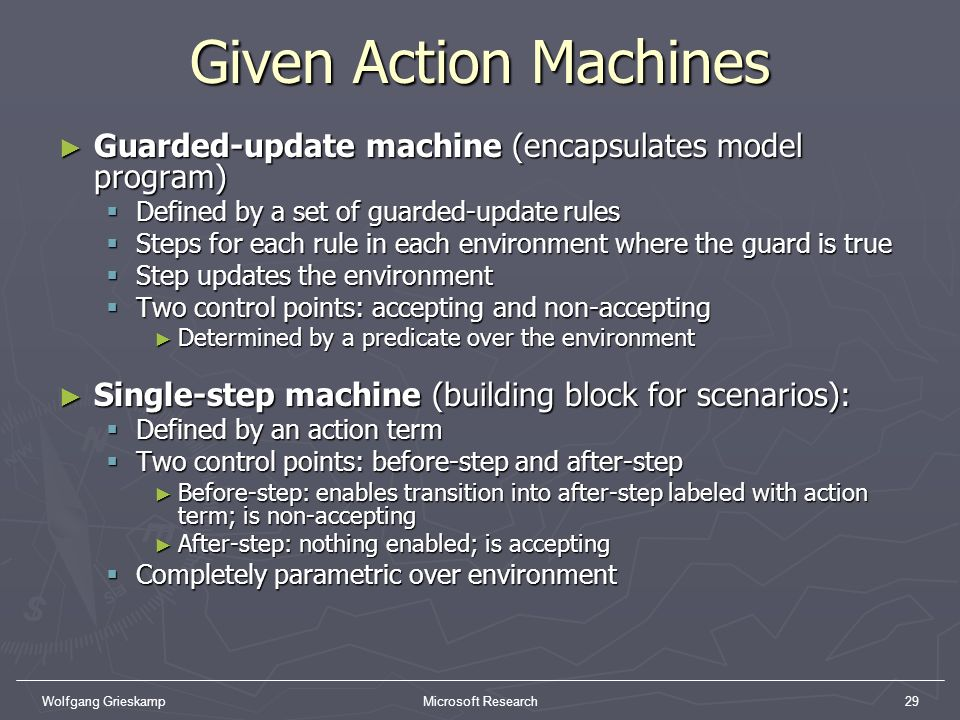 Wolfgang GrieskampMicrosoft Research29 Given Action Machines Guarded-update machine (encapsulates model program) Guarded-update machine (encapsulates