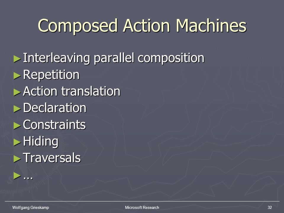 Wolfgang GrieskampMicrosoft Research32 Composed Action Machines Interleaving parallel composition Interleaving parallel composition Repetition Repetit