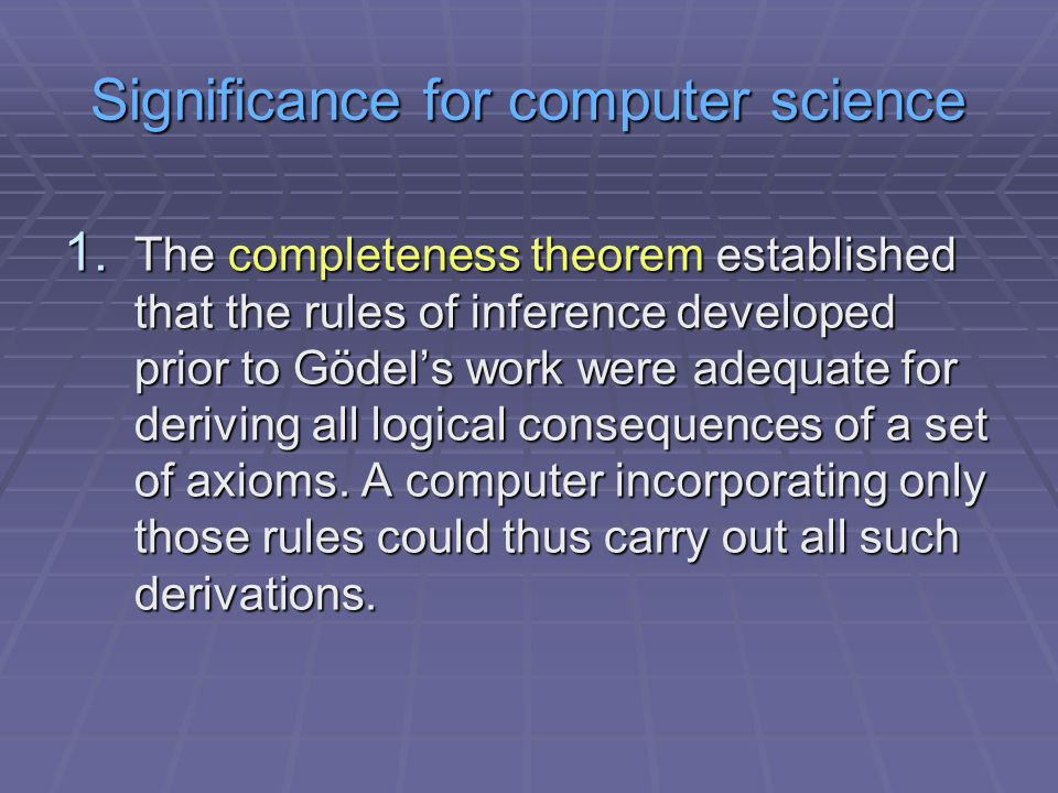Significance for computer science 1.