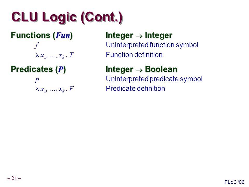 – 21 – FLoC 06 CLU Logic (Cont.) Functions ( Fun )Integer Integer f Uninterpreted function symbol x 1, …, x k.