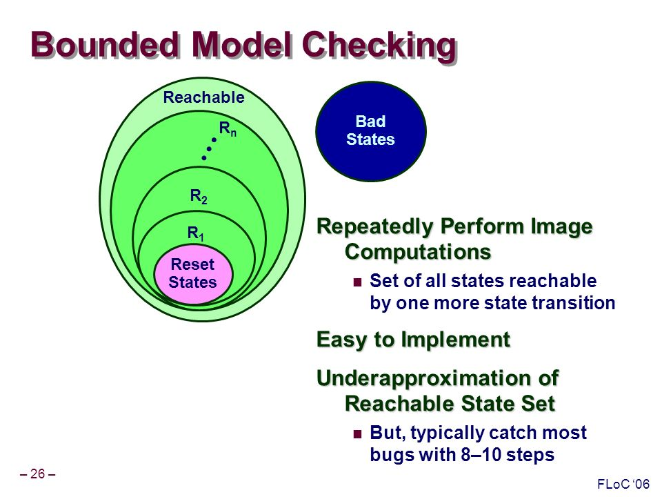 – 26 – FLoC 06 Reachable RnRn R2R2 Bounded Model Checking Repeatedly Perform Image Computations Set of all states reachable by one more state transition Easy to Implement Underapproximation of Reachable State Set But, typically catch most bugs with 8–10 steps Bad States R1R1 Reset States
