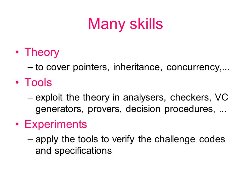 Many skills Theory –to cover pointers, inheritance, concurrency,...