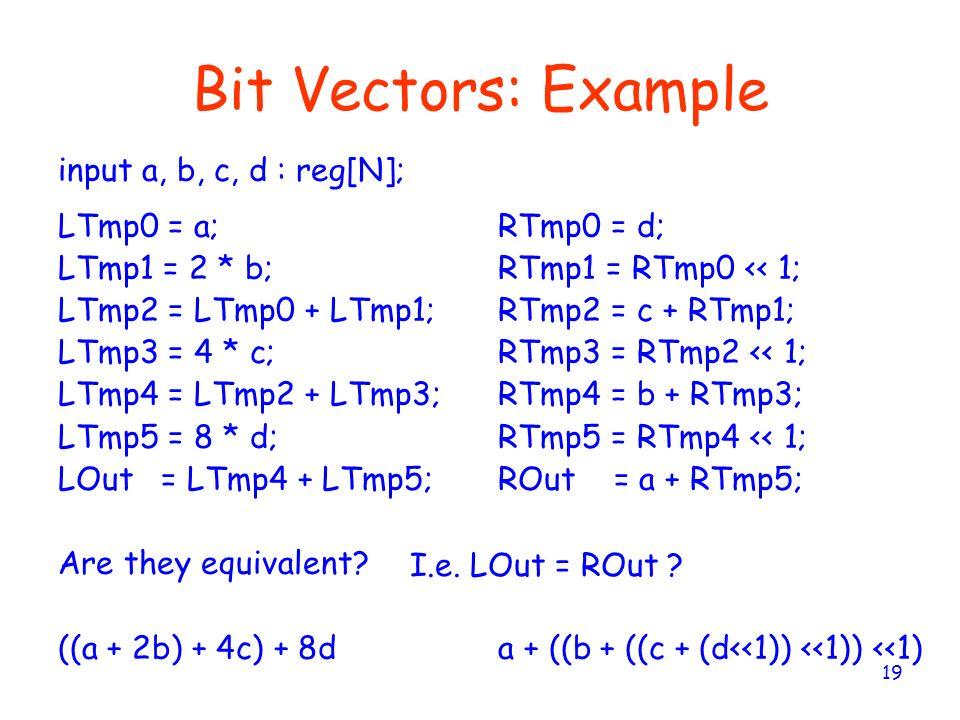 19 Bit Vectors: Example LTmp0 = a; LTmp1 = 2 * b; LTmp2 = LTmp0 + LTmp1; LTmp3 = 4 * c; LTmp4 = LTmp2 + LTmp3; LTmp5 = 8 * d; LOut = LTmp4 + LTmp5; Ar