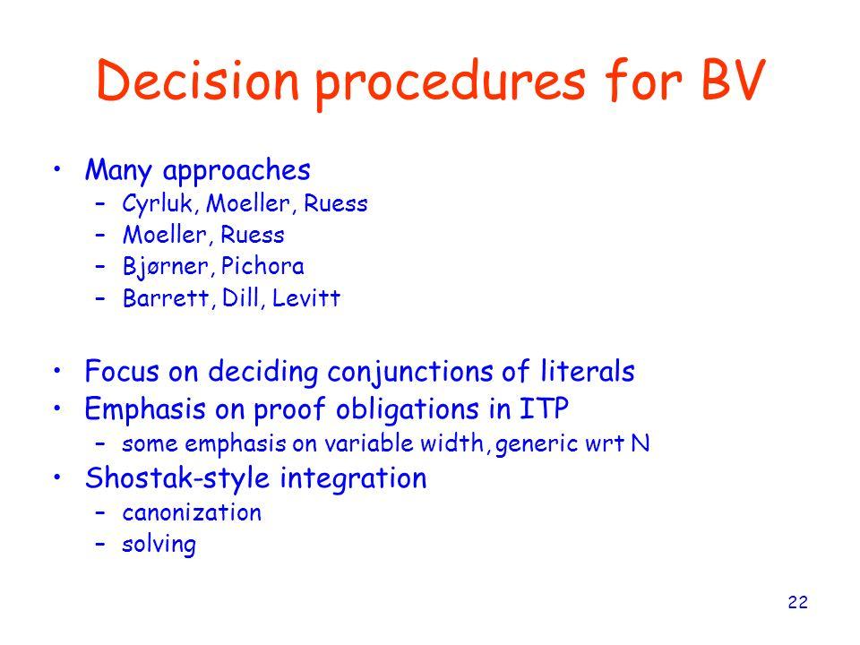 22 Decision procedures for BV Many approaches –Cyrluk, Moeller, Ruess –Moeller, Ruess –Bjørner, Pichora –Barrett, Dill, Levitt Focus on deciding conju
