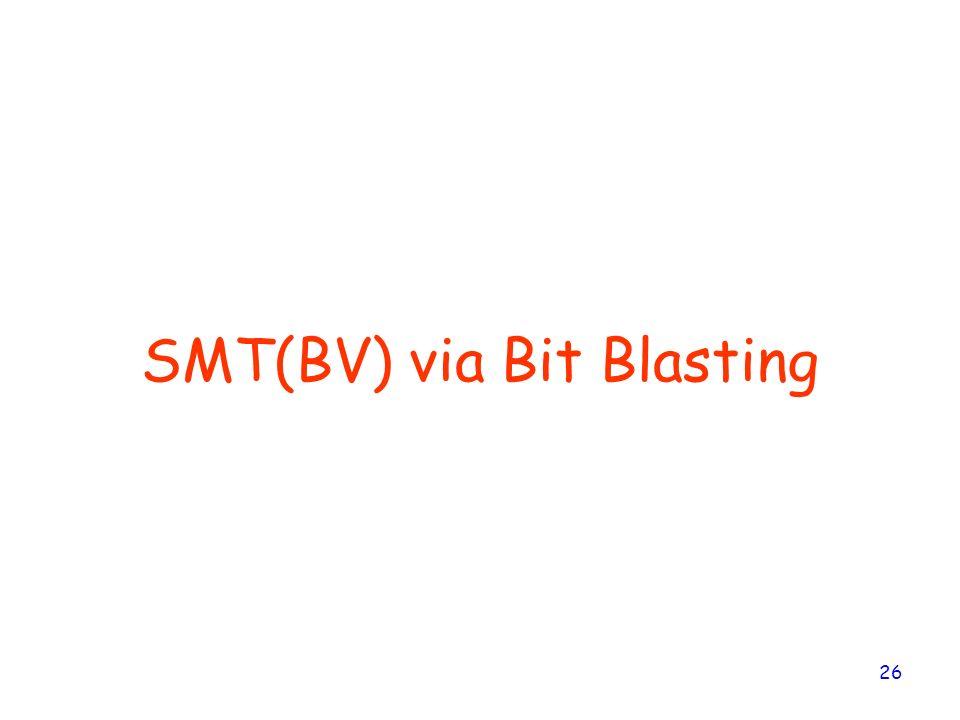 26 SMT(BV) via Bit Blasting