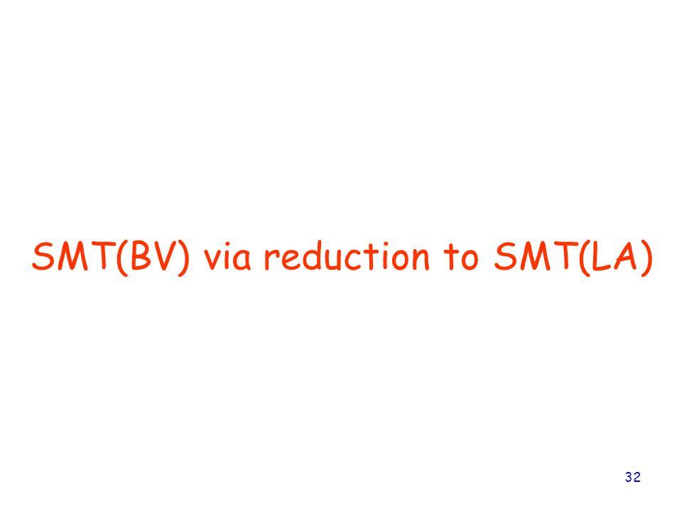 32 SMT(BV) via reduction to SMT(LA)