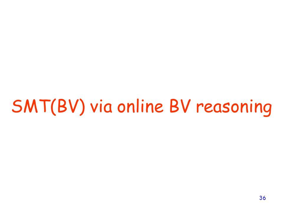 36 SMT(BV) via online BV reasoning