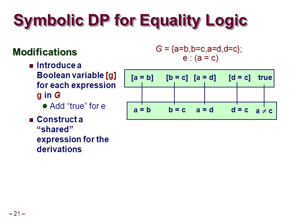 – 21 – Symbolic DP for Equality Logic Modifications Introduce a Boolean variable [g] for each expression g in G Add true for e Construct a shared expression for the derivations a = bb = c a c [a = b][b = c]true a = dd = c [a = d][d = c] G = {a=b,b=c,a=d,d=c}; e : (a = c) e : (a = c)