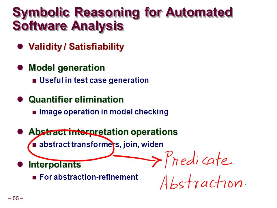 – 55 – Symbolic Reasoning for Automated Software Analysis Validity / Satisfiability Validity / Satisfiability Model generation Model generation Useful in test case generation Quantifier elimination Quantifier elimination Image operation in model checking Abstract interpretation operations Abstract interpretation operations abstract transformers, join, widen Interpolants Interpolants For abstraction-refinement