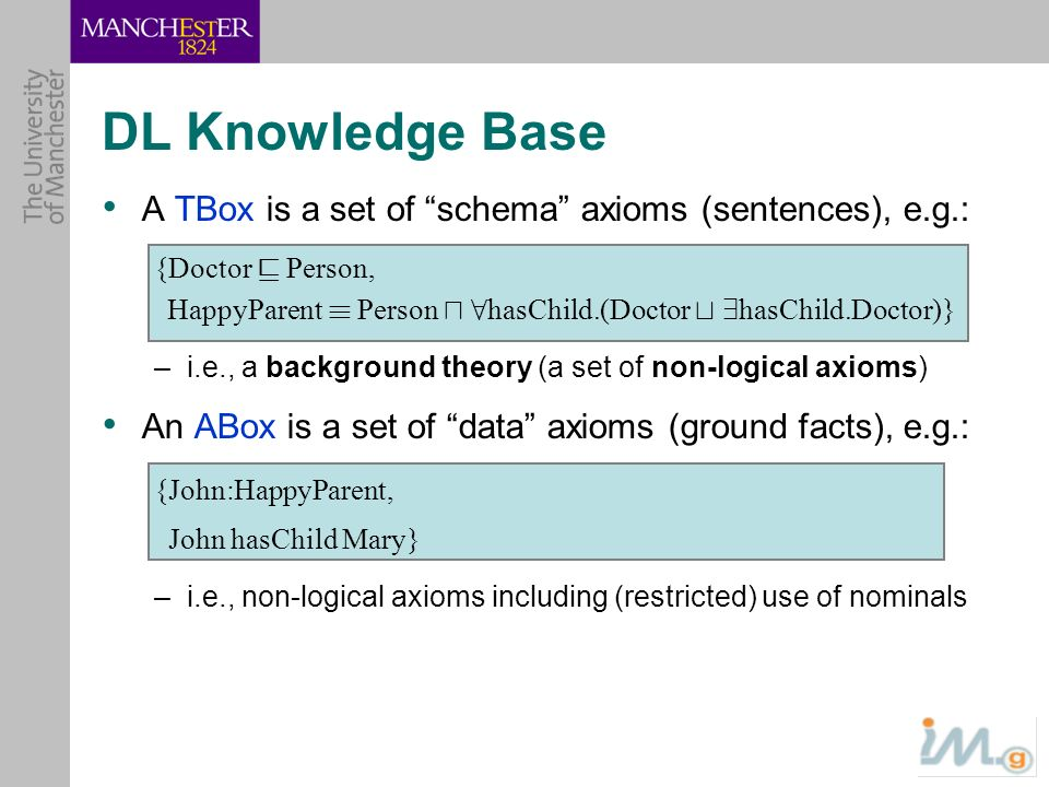 DL Knowledge Base A TBox is a set of schema axioms (sentences), e.g.: {Doctor v Person, HappyParent ´ Person u 8 hasChild.(Doctor t 9 hasChild.Doctor)